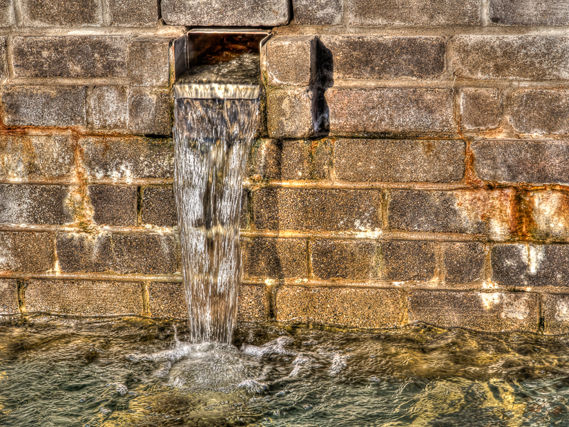 bricks and water